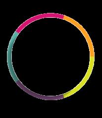 A circular logo depicting vision